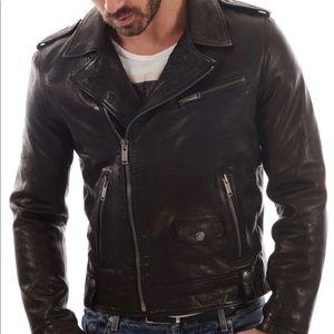 Men's NF Leather Black Motorcycle Jacket